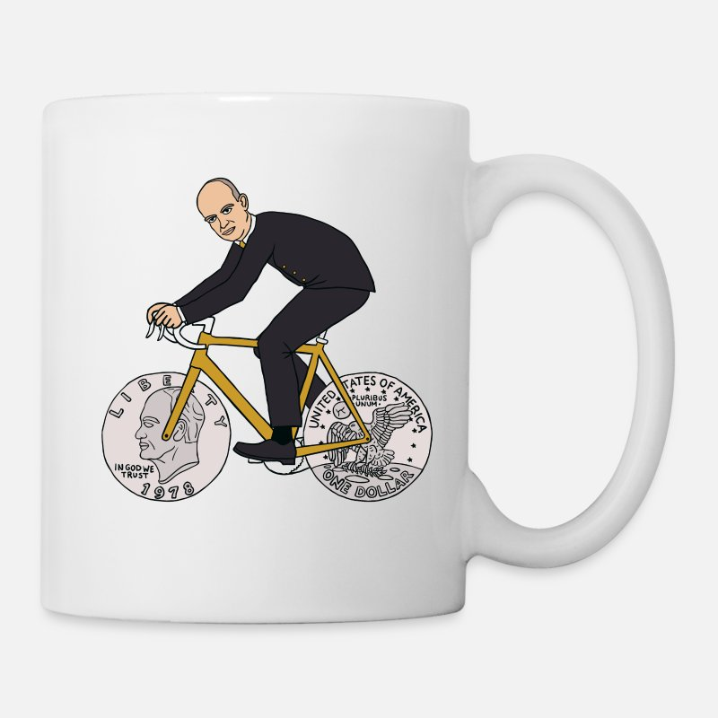 Eisenhower Mugs & Drinkware - dwight eisenhower riding bike with dime wheels - Mug white