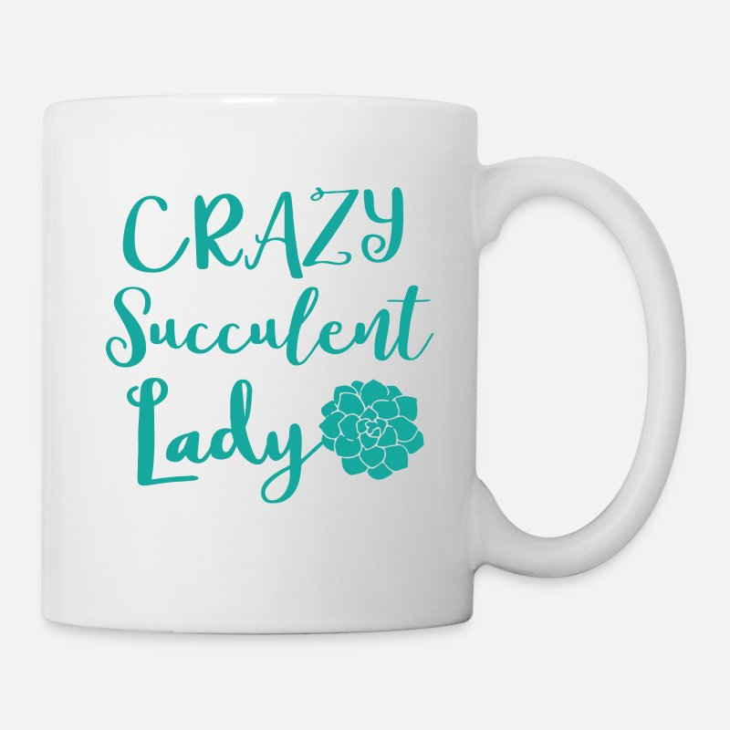 Cute Mugs & Drinkware - crazy succulent lady - Mug white