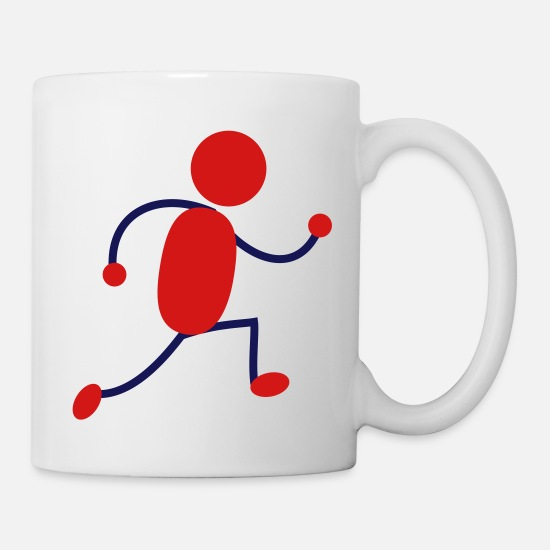 Red Mugs & Drinkware - Red Running Man - Mug white