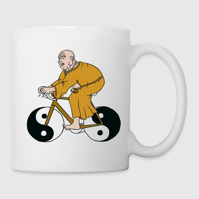buddha riding bike with yin yang wheels - Coffee/Tea Mug