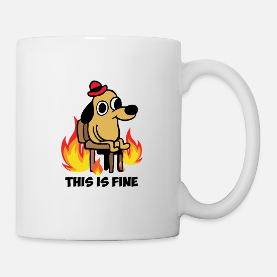This Mugs & Drinkware - This is fine dog meme existence is pain - Mug white