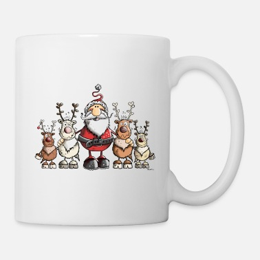 Draw Ho Ho Ho Santa Claus with his reindeers - Mug