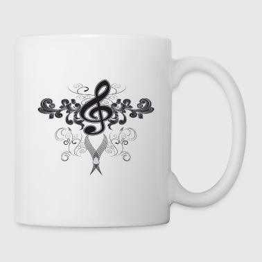 Music, clef with floral elements - Coffee/Tea Mug