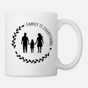 Silhouette Mom Dad Daugter Silhouette, Family is Everything - Mug
