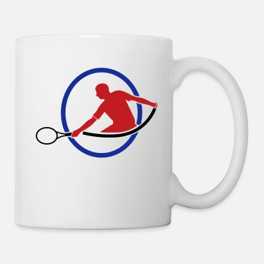 Hits tennis man hitting swing hit - Coffee/Tea Mug