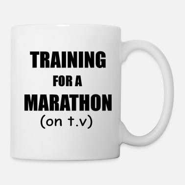 T-v training for a marathon on t v - Coffee/Tea Mug