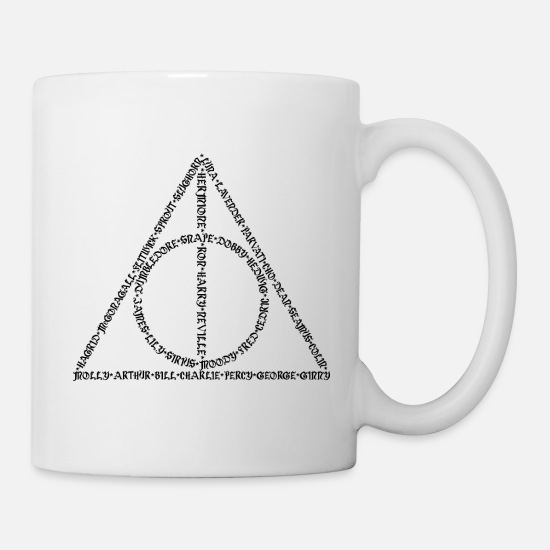 Hogwarts Mugs & Drinkware - Deathly Hallows symbol made out of names - Mug white