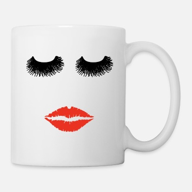 Eyelashes Lady woman face eyelashes mouth kiss sexy lips eye - Coffee/Tea Mug