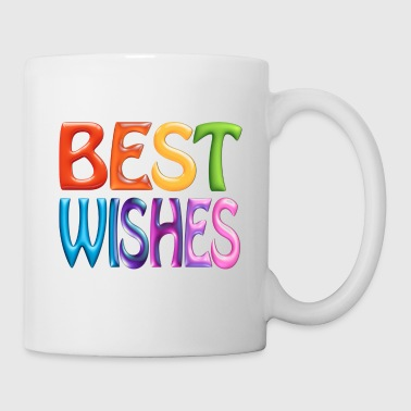 BEST WISHES, fun colourful 3d-like Greeting - Coffee/Tea Mug