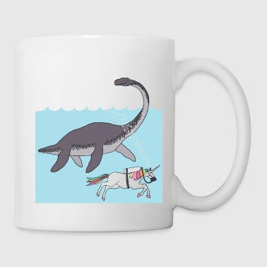 unicorn swimming with loch ness monster - Coffee/Tea Mug
