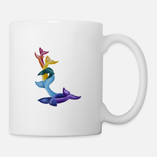 Cock Mugs & Drinkware - 7 Whale tails/flukes in rainbow colors - Mug white