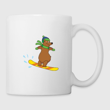Ski Resort Snowboarding Snowboarder Brown Bear Winter Sports - Coffee/Tea Mug