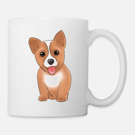Dog Lover Mugs & Drinkware - cute brown corgi puppy cartoon - Mug white
