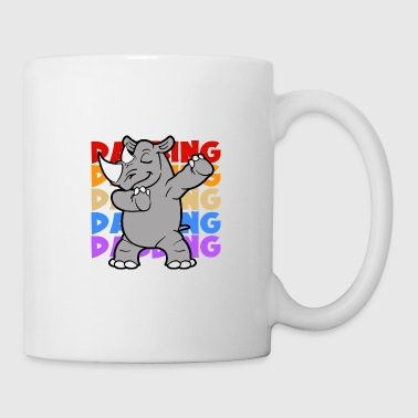 Circus Retro Vintage Pop Art Style Dabbing Dab Rhinoceros - Coffee/Tea Mug