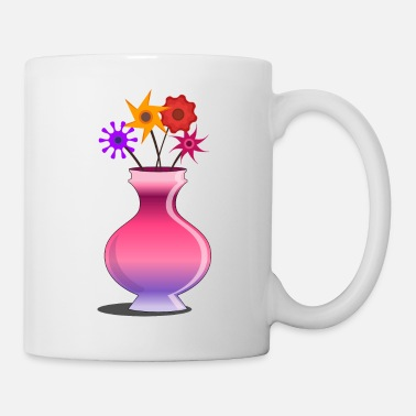 Vase Flower vase pink with flowers - Mug