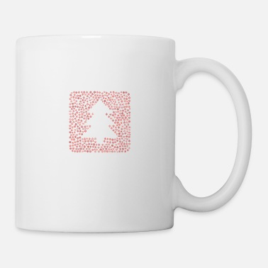 Brilliant Snow Wordcloud of a pine tree box mdf form (red) - Coffee/Tea Mug