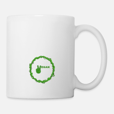 Vegetarian Vegan Peace Inside Ring Of Leaves - Mug