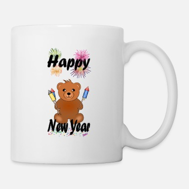 Monster Cute Furry Teddy Bear - Happy New Year black - Mug