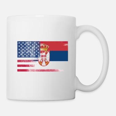 Serbian American Half Serbia Half America Flag Mug