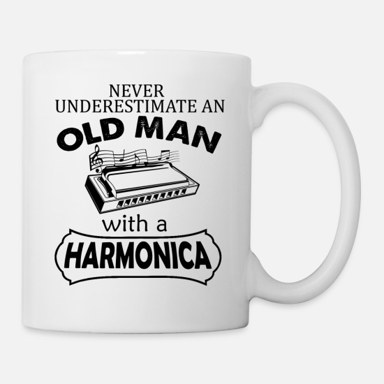 Women Mugs & Drinkware - Old Man With A Harmonica Mug - Mug white