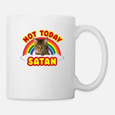 Beelzebub Funny Satan Cat Not Today Death Metal Rainbow - Coffee/Tea Mug