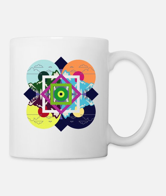 Sounds Mugs & Cups - Vintage Colorful Nature Disc - Mug white
