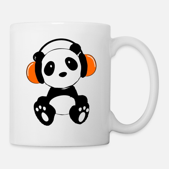 Music Mugs & Drinkware - Panda bear is hearing music - Mug white