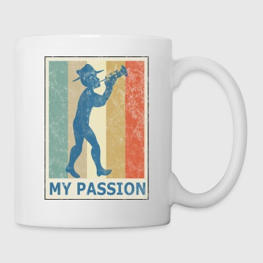 Retro Vintage Style Trumpet Player Musician Jazz - Coffee/Tea Mug