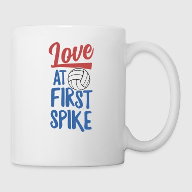 Love At First Spike Volleyball TShirt Team Player Girls - Coffee/Tea Mug