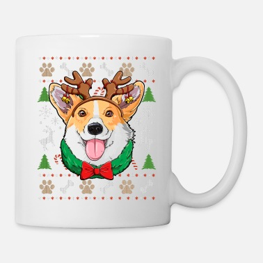 Antler Corgi Ugly Christmas Shirt Reindeer Antlers Dog - Coffee/Tea Mug
