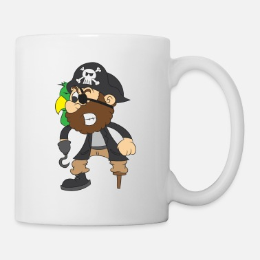 Wooden Pirate captain with parrot, eye patch and hook - Mug