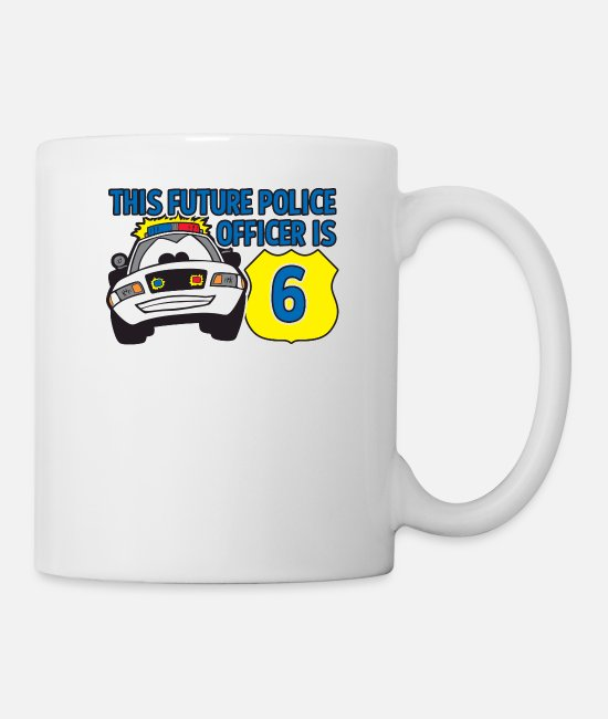 Your 6 Police Mugs & Cups - Kids 6th Birthday This Future Police Officer is 6 - Mug white