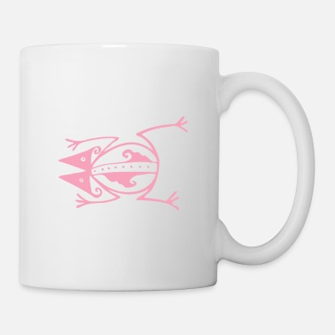 Tribal Pink Frog Creature Tribal Art Tribe Floral Paleo - Mug