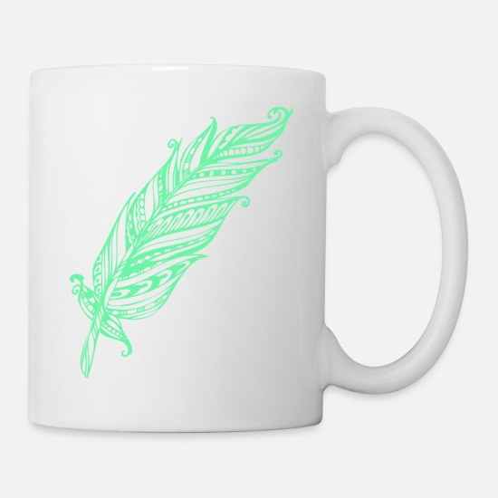 Tribal Mugs & Drinkware - Abstract Tribal Leaf Design - Mug white