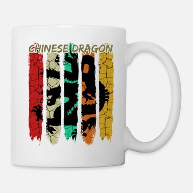 Legendary Retro Vintage Style Chinese Dragon Silhouette 70s - Mug