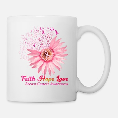 Faith Hope Love Breast Cancer Awareness Flower Pin - Mug