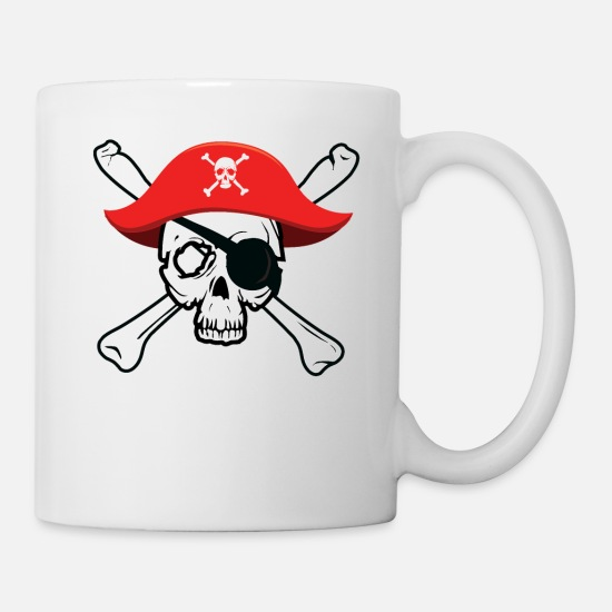 Treasure Mugs & Drinkware - Pirate Skull and Crossbones Jolly Roger design - Mug white