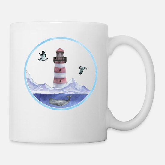Sperm Mugs & Drinkware - Lighthouse with seagulls & sperm whale in the sea - Mug white