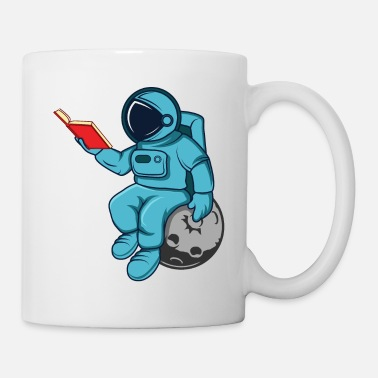 Mars Funny Astronaut Read Book In Space Gift Science - Mug