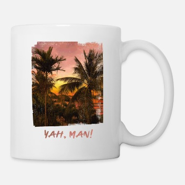 Sunset Caribbean Palm tree Barbados Yah Man! - Mug