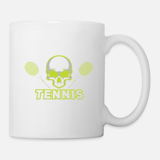 Table Tennis Mugs & Drinkware - Tennis Skull Racket green Gift - Mug white