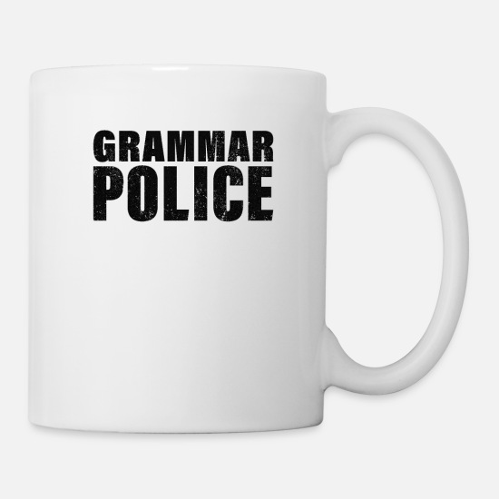 Stupid Mugs & Drinkware - Grammar Police, Comma Unit - Mug white
