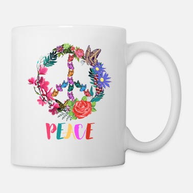 Hippie Movement Peace Sign Colorful Spring Flowers And Butterflies - Mug