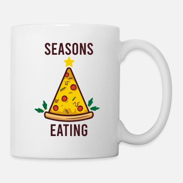 Chicago Seasons Eating Pizza Pie Christmas Tree Foodie Pun - Mug