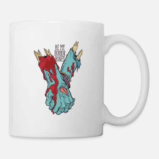 Gore Mugs & Drinkware - Zombie Hands holding each other my horror honey - Mug white