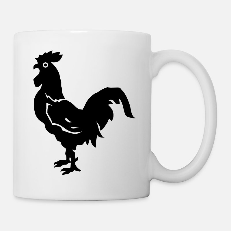 Chicken Mugs & Drinkware - Big Black Cock - VECTOR - Mug white