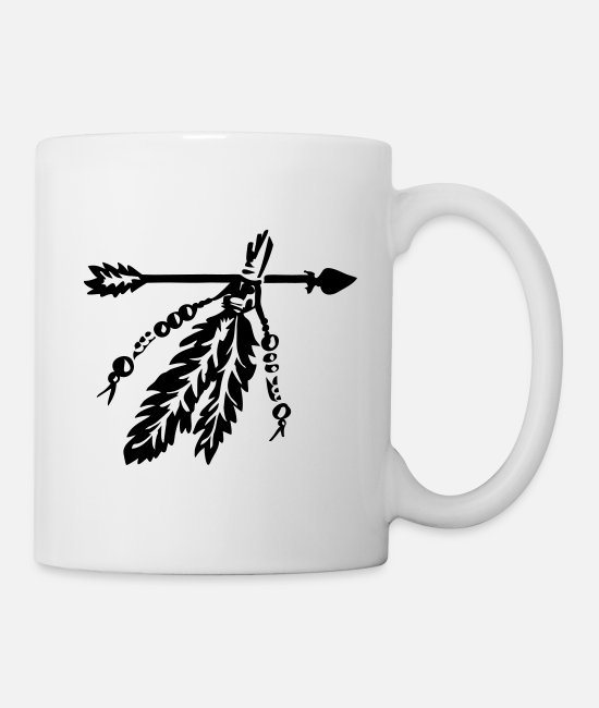 Arrow Mugs & Cups - Arrow with feathers protection symbol warrior - Mug white