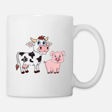 Fork Retro Vintage Grunge Style Cow Pig Pork - Coffee/Tea Mug