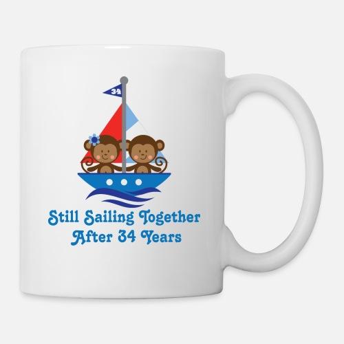 Gift For 34th Wedding Anniversary - Mug. Front. Left. Design. Right