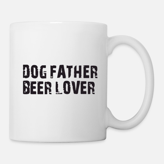 College Mugs & Drinkware - dog father beer lover - Mug white
